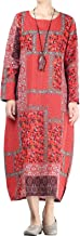 Mordenmiss Women's Feather Printed Loose Long Dress with Pockets