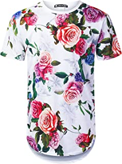 URBANTOPS Mens Hipster Hip Hop All Over Floral Graphic Longline T-Shirt