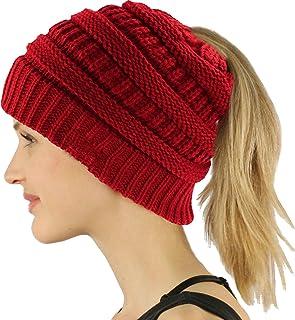 LEECCO BeanieTail Warm Knit Messy High Bun Ponytail Visor Beanie Cap for Women