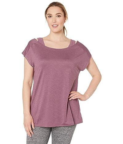 Columbia Plus Size Place To Placetm Short Sleeve Shirt (Antique Mauve Heather) Women