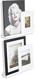 Wallniture Boston Contemporary 22 Inch Wall Mounted Floating Shelves - Space Saver Picture Ledges Set of 2 White