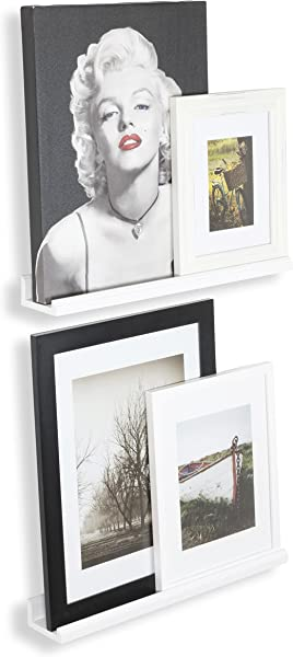 Wallniture Boston Contemporary 22 Inch Wall Mounted Floating Shelves Space Saver Picture Ledges Set Of 2 White