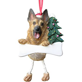 German Shepherd Ornament A Great Gift For German Shepherd Owners Hand Painted and Easily Personalized Doghouse Ornament With Magnetic Back E/&S Imports Inc 35355-75