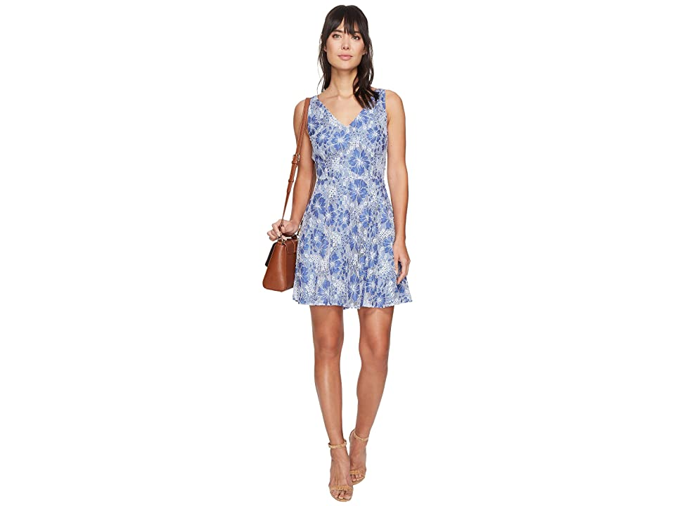 BB Dakota Chastain V-Neck Lace Dress (Light Indigo) Women