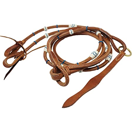 Showman Braided Natural Rawhide Romal Reins w//Tooled Leather Popper New Horse TACK!