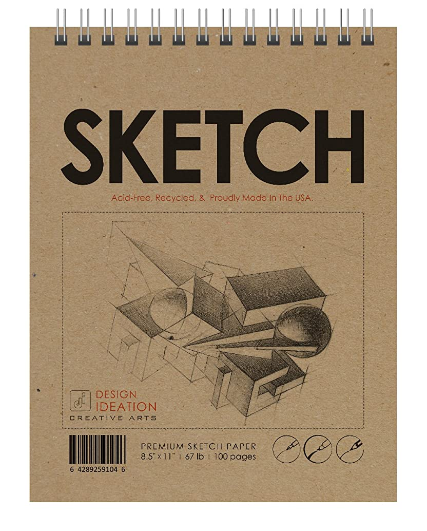 Made in The USA: Premium Paper Sketch Book for Pencil, Ink, Marker, Charcoal and Watercolor Paints. Great for Art, Design and Education. Jumbo 8.5