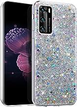 Kompatibel med Huawei P40 fodral, glansigt glitter mobiltelefonfodral. Silver