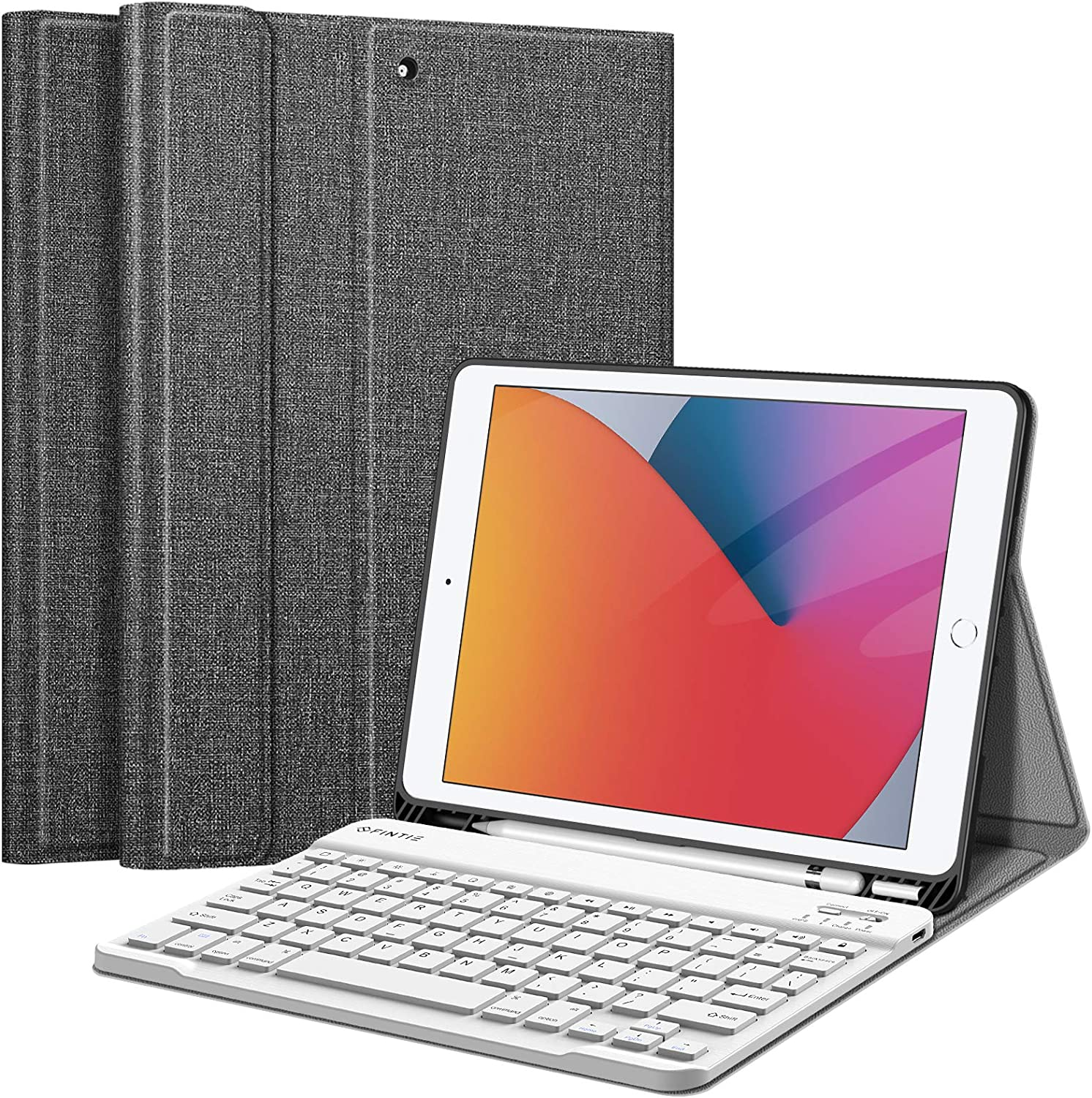 Fintie Keyboard Case for iPad 9th / 8th / 7th Generation (2021/2020/2019) 10.2 Inch, Soft TPU Back Stand Cover with Pencil Holder, Magnetically Detachable Wireless Bluetooth Keyboard, Gray
