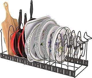 APPUCOCO Expandable Pan Rack Organizer, Adjustable Pot Lid Holders & Bakeware Rack, Kitchen Cookware Pantry Cabinet Storag...