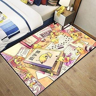 xuejing Tapis Chambre Salon Porche Dessin Animé Anime Pikachu Rectangulaire Table Basse Vestiaire Enfants Chambre Maison É...
