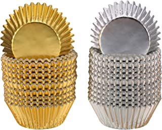 Sumind Foil Metallic Cupcake Case Liners Muffin Paper Baking Cups (Gold and Sliver)