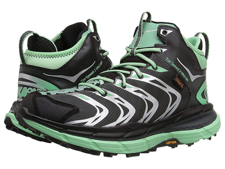 Hoka One One Tor Speed 2 Mid (Dark Shadow/Mint Green) Women's Shoes, Black
