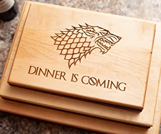Game of Thrones Cutting Board - Christmas Gift - Game of Thrones Gift, Game of Thrones Merchandise, Boyfriend Gift, Maple Wood Cutting Board made in the USA - Winter is Here, Dinner is Coming