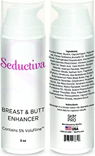 SkinPro Breast and Butt Enhancer | Rapidly Lifts and Firms (Medical Grade) the Breast and Buttocks | Top Rated Seductiva Brand with Maximum Strength 5% Volufiline by Sederma