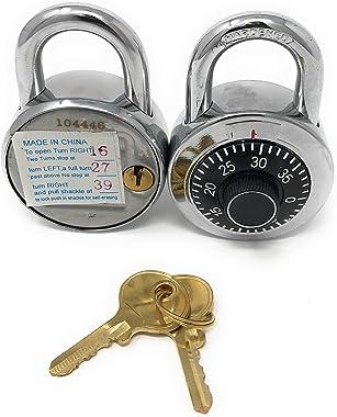 Combination Locks with Single Override Control Key Ideal for Lockers - Set of 10 Candados de Combinacion [946-10]