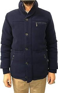 NAPOLEONE ERBA Piumino Uomo Blu MOD Parka 100% Cashmere Made in Italy