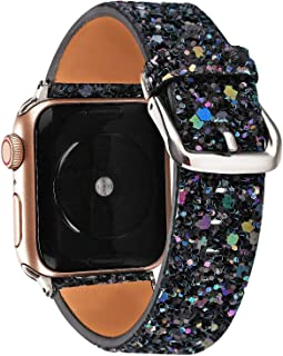 Gsmartive Glitter Band Compatible with Apple Watch Band 38mm 40mm 42mm 44mm,Bling Sparkle Dressy Replacement Strap Compatible for iWatch Series 5,4,3,2,1 Sports & Edition Women (Black, 42mm/44mm)