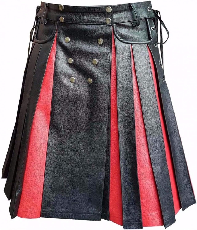 Mens 超安い Real Black 売れ筋ランキング Red Leather Utility Kil Kilt Gladiator Pleated