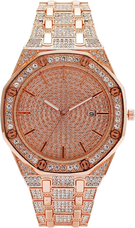 Reloj Mujer Oro Esfera de Diamante Minimalista Relojes Mujer Acero Inoxidable Impermeable Analógicos Relojes de Pulsera Niña Clásico Elegante Casual