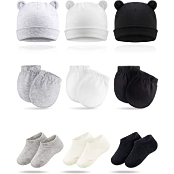 Geyoga 6 Pieces Newborn Baby Unisex Soft Cotton Beanie Hat with Cute Bow for 0-6 Months Baby