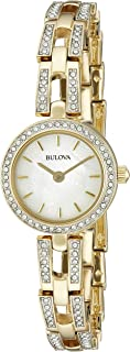 Women's 98L213 Crystal Analog Display Quartz Gold Watch