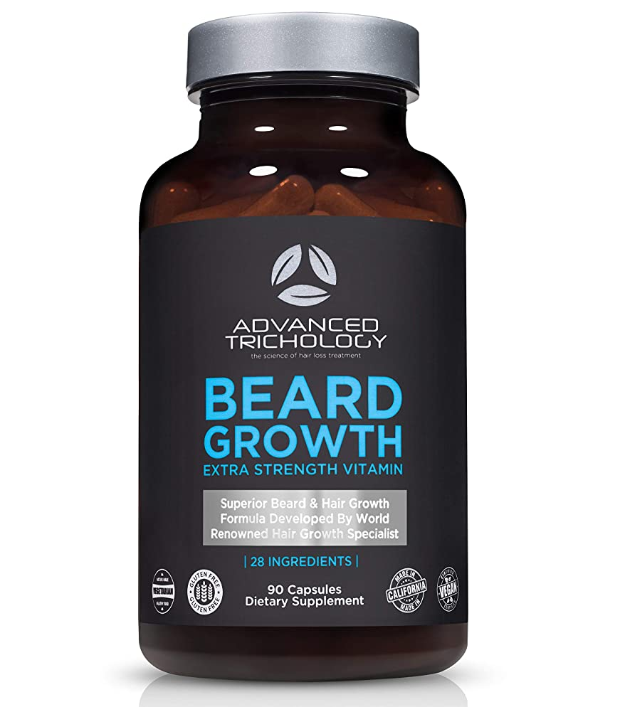 BEARD GROWTH Supplements for Men - Beard Growth Product Scientifically Developed Extra Strength for Men - High Potency Biotin, Saw Palmetto, Silica, Foti - - Dermatologist Recommended - Made in USA