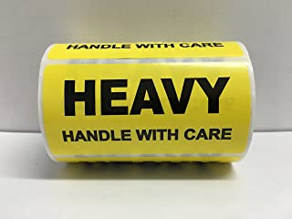 1 Roll 4x2 Yellow HEAVY HANDLE WITH CARE Special Handling Shipping Warehouse Pallet Stickers 500 labels per roll