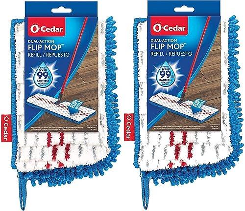 O-Cedar Dual Action Microfiber Flip Mop Refill, Dust/Microfiber Flat Mop Refill, 1 CT (Pack of 2) …