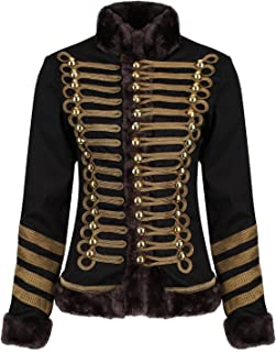 Ro Rox Womens Military Parade Jacket Black & Shimmering Brown Trims with Faux Fur