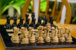 RADICALn Completely Handmade Original Marble Chess Board Game Set Two Players Full Chess Game Table Set (12 Inches Chess Set)