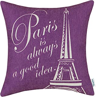 CaliTime Canvas Throw Pillow Cover Case for Couch Sofa Home Decoration Famous Paris Eiffel Tower 18 X 18 Inches Purple