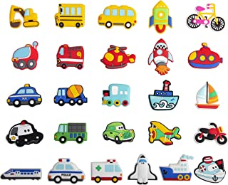 WISESTAR 26PCS Transports Rubber Fridge Magnets for Kids Toddlers - Aircraft, Boat, Vehicle, Car Refrigerator Magnets for Whiteboard - as Durable Educational Toy Tool School Prize Birthday Gift