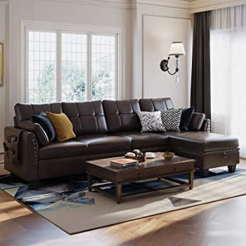 Amazon Com Honbay Faux Leather Sectional Sofa Couch Reversible L Shaped Couch Sofa 4 Seat Sofa Sectional Couch For Small Apartment Kitchen Dining