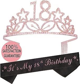 18th Birthday Tiara and Sash   Happy 18th Birthday Party Supplies   It's My 18th Birthday Glitter Satin Sash and Crystal Tiara Birthday Crown for 18th Birthday Party Supplies and Decorations