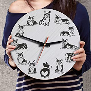 VTH Global 12 Inch Silent Battery Operated Corgi Dog Wood Wall Clocks Corgis Gifts for Dad Mom Pet Lovers