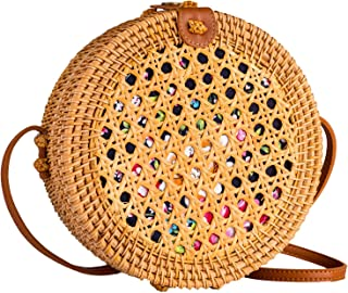 Boho Straw Bag Circle Crossbody Purse Rattan Hand Woven For Women Necessities Shoulder Bags Wicker Purses In Summer Beach Vacation With Flower Pattern - Halcyon Bags