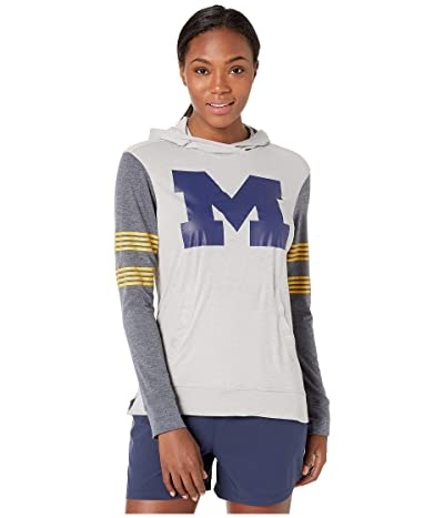 Champion College Michigan Wolverines Color Blocked Long Sleeve Hoodie (Cool Grey/Gear Navy) Women