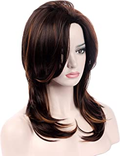 Sotica Women's Wavy Curly Brown Highlights with Layers Shoulder Length Yaki Synthetic and Bangs Full Hair Wigs