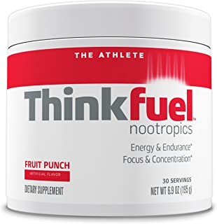 Thinkfuel Nootropic Pre Workout Powder for Athletes - Dopamine Stack to Boost Mental Performance, Energy Levels and Endurance. w/DMAE, Creatine, Beta-Alanine, and Caffeine. Fruit Punch, 30 Servings