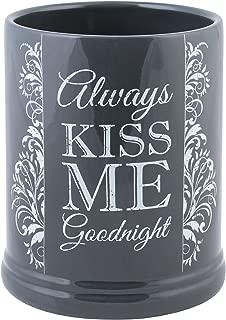 Elanze Designs Always Kiss Me Goodnight Charcoal Grey Stoneware Electric Jar Candle Warmer