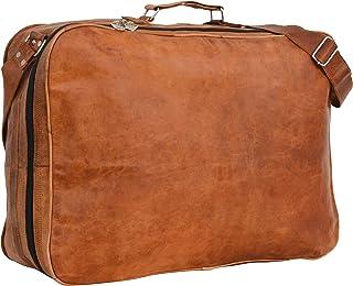 Gusti Reisetasche Leder - Alexander Weekender Bordtasche Braun Leder Vintage mit Reißverschluss