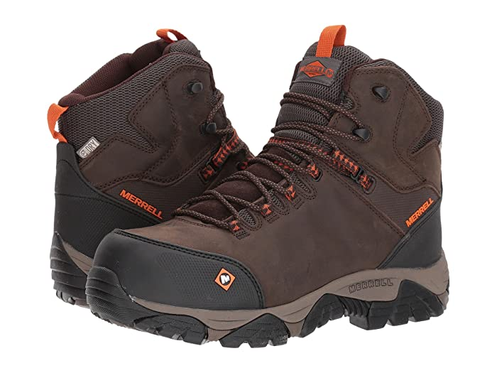 Merrell Work  Phaserbound Mid Waterproof CT (Espresso) Mens Work Lace-up Boots