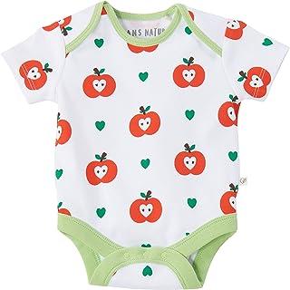 HANS NATUR Baby Body Kurzarm 100% Bio-Baumwolle kbA GOTS zertifiziert, Apfel, 50/56