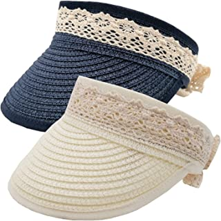 2 Pack Unisex Kids Sun Hats Beach Straw UV Protection Caps for Boys Girls Summer Adjustable Wide Brim Visor