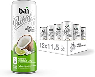 Bai Bubbles, Sparkling Water, Waikiki Coconut Lime, Antioxidant Infused Drinks, 11.5 Fluid Ounce Cans, 12 Count