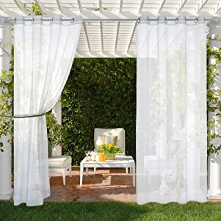 MIULEE 1 Pair White Outdoor Sheer Curtain for Patio, Stainless Grommet Top Gauze Sheer Outdoor Curtain for Pergola, Outdoo...