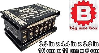 Wooden Secret Jewelry Box Puzzle Magic Case, Big Size, Secret stash Safe Compartment Place Lock with Hidden Key, Money Rack, Brain Teaser, Smart Trick - Measures 6.3