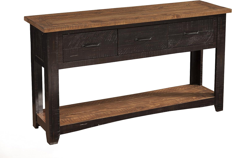 Martin Svensson Home Rustic Sofa Table, Antique Black and Honey Tobacco