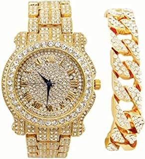 Bling-ed Out Round Luxury Mens Watch w/Bling-ed Out Cuban Bracelet