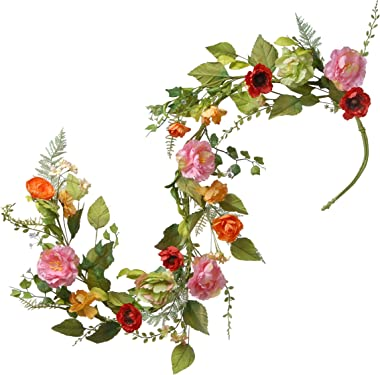 National Tree 5 Foot Spring Floral Garland with Mixed Flowers and Green Leaves (RAS-150329-1)